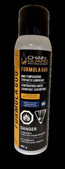 Chain Guard Food Grade NSF H1- CFIA Formula 600 High Temperature Spray Lubricant - Case of 12 x 400 g